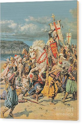 The Mighty King Of Chivalry Richard The Lionheart Wood Print by Fortunino Matania