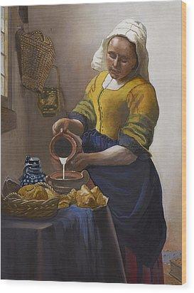 The Milkmaid Wood Print by Caroline  Stuhr