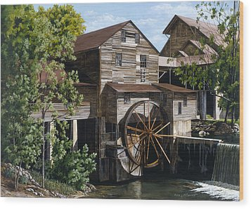 The Mill At Pigeon Forge Wood Print by Marla J McCormick
