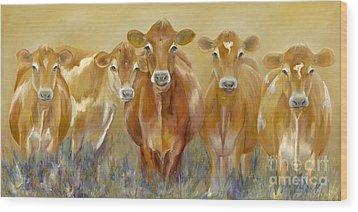 The Morning Moo Wood Print by Catherine Davis