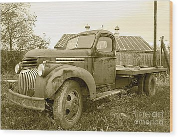 The Old Farm Truck Wood Print by John Debar