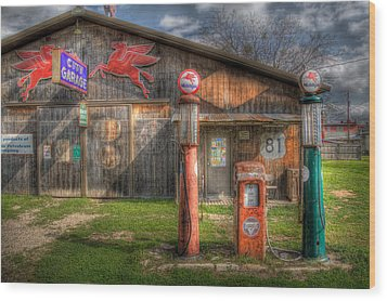 The Old Service Station Wood Print by David and Carol Kelly
