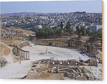 The Oval Plaza At Jerash In Jordan Wood Print by Robert Preston