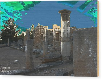 The Palaestra -temple Of Apollo Wood Print by Augusta Stylianou