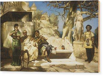 The Patrician's Siesta Wood Print by Hendrik Siemiradzki