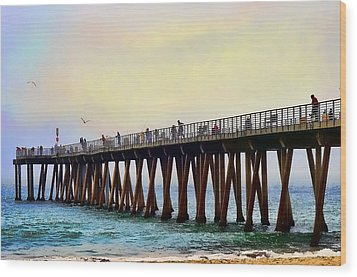 The Pier Wood Print by Camille Lopez
