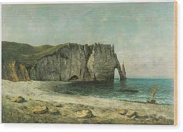 The Porte D'aval At Etretat Wood Print by Gustave Courbet