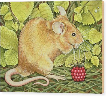 The Raspberry Mouse Wood Print by Ditz