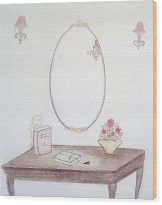 The Reading Table Wood Print by Christine Corretti