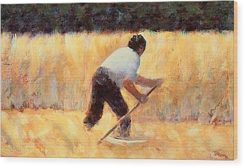 The Reaper Wood Print by Georges Seurat