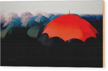 The Red Umbrella Wood Print by Bob Orsillo