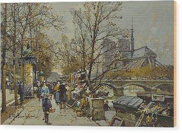The Rive Gauche Paris With Notre Dame Beyond Wood Print by Eugene Galien-Laloue