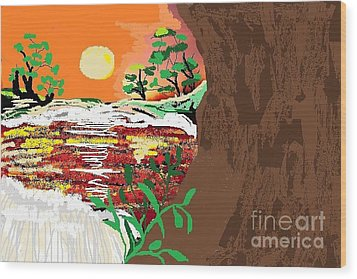 The River Wood Print by Sherry  Hatcher