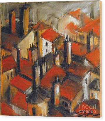 The Roofs Of Lyon Wood Print by Mona Edulesco