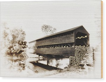 The Sachs Covered Bridge Near Gettysburg In Sepia Wood Print by Bill Cannon