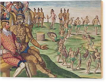 The Sacrifice Of The First-born Son Wood Print by Jacques Le Moyne