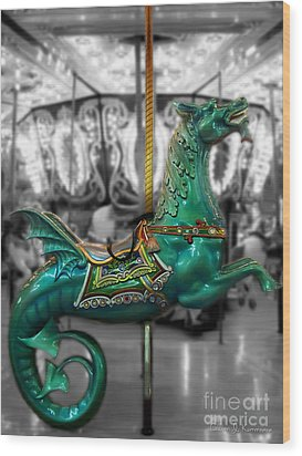 The Sea Dragon - Carousel Wood Print by Colleen Kammerer
