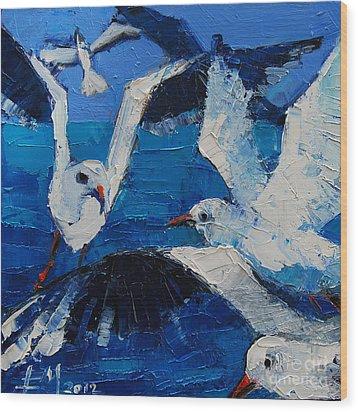 The Seagulls Wood Print by Mona Edulesco