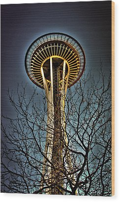 The Seattle Space Needle Iv Wood Print by David Patterson