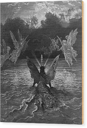 The Ship Continues To Sail Miraculously Moved By A Troupe Of Angelic Spirits Wood Print by Gustave Dore