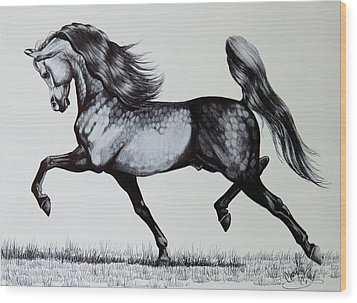 The Spirited Arabian Horse Wood Print by Cheryl Poland