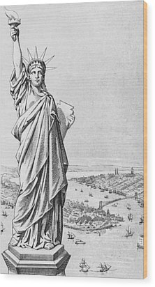 The Statue Of Liberty New York Wood Print by American School