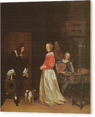 The Suitor's Visit Wood Print by Gerard Terborch