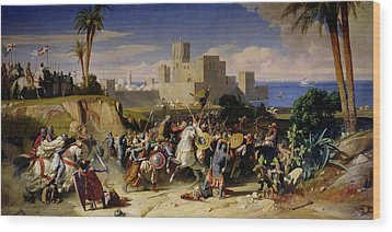 The Taking Of Beirut By The Crusaders Wood Print by Alexandre Jean Baptiste Hesse