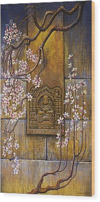 The Temple's Wall Wood Print by Vrindavan Das