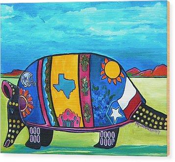 The Texas Armadillo Wood Print by Patti Schermerhorn