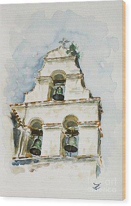 The Three-bell Campanario At Mission San Juan Bautista  Wood Print by Zaira Dzhaubaeva