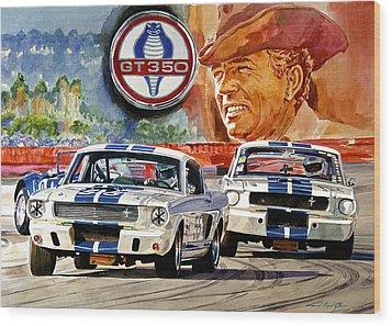 The Thundering Blue Stripe Gt-350 Wood Print by David Lloyd Glover
