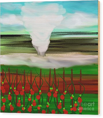 The Tomatoes And The Tornado Wood Print by Andee Design