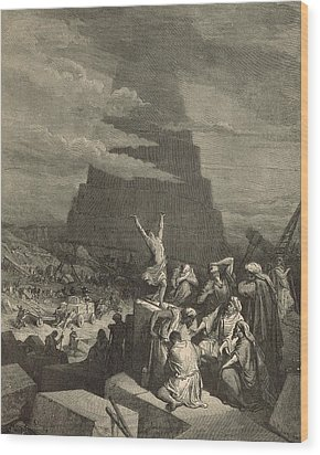 The Tower Of Babel Wood Print by Antique Engravings