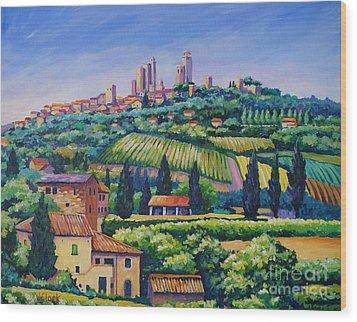 The Towers Of San Gimignano Wood Print by John Clark