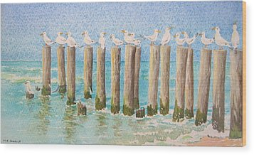 The Town Meeting Wood Print by Mary Ellen Mueller Legault