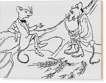The Town Mouse And The Country Mouse Wood Print by Arthur Rackham
