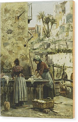 The Washerwomen Wood Print by Peder Monsted