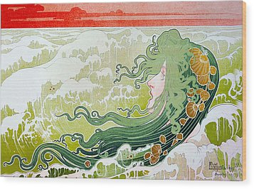 The Wave Wood Print by Henri Pivat Livemont