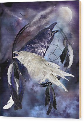The White Raven Wood Print by Carol Cavalaris