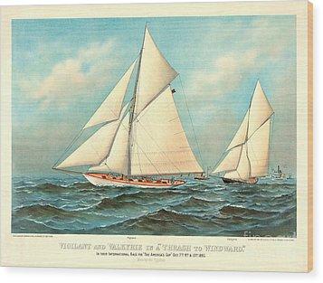 Thrash To Windward 1893 Wood Print by Padre Art