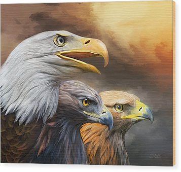 Three Eagles Wood Print by Carol Cavalaris