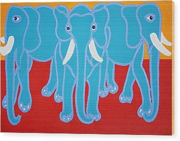Three Elephants Wood Print by Matthew Brzostoski