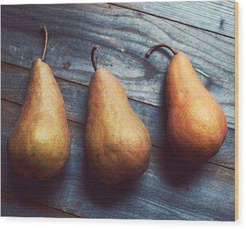 Three Gold Pears Wood Print by Lupen  Grainne