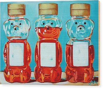 Three Little Bears Wood Print by Jayne Morgan