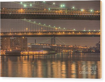 Three New York Bridges Wood Print by Clarence Holmes