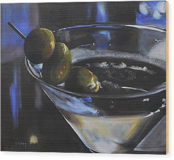 Three Olive Martini Wood Print by Donna Tuten