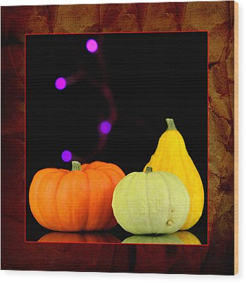 Three Small Pumpkins Wood Print by Toppart Sweden