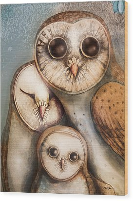Three Wise Owls Wood Print by Karin Taylor
