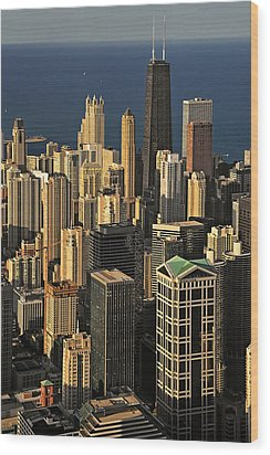 Through The Haze Chicago Shines Wood Print by Christine Till